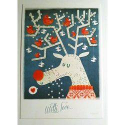 3pcs Rudolf the Red Bird Reindeer - Adaland designcard