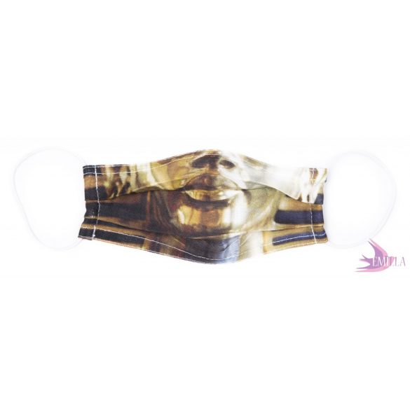 Gumis mosható, sterilizálható arcmaszk - Tutanhamon / biopamut géz (kisméret)