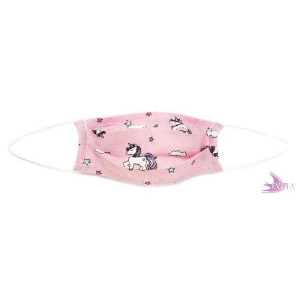 Kids face mask - Pink Unicorn / cotton