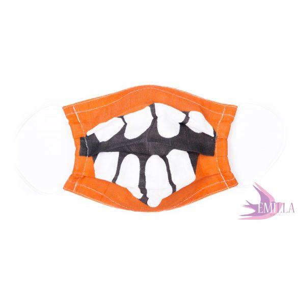 Gumis mosható, sterilizálható arcmaszk - Orange Monster / biopamut géz