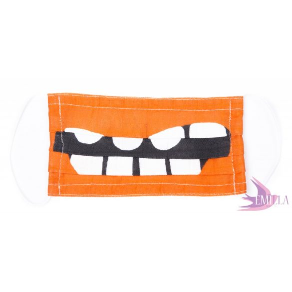 Washable, sterilizable face mask - Orange Monster / organic cotton guaze