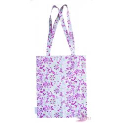 Pink Meadow - Cotton tote bag from rescued fabric