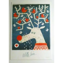 3pcs Rudolf the Red Bird Reindeer - Adaland designcard