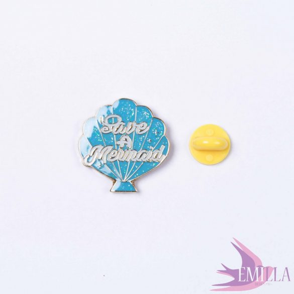 Save a Mermaid, Baby Blue - enamel pin with glitter