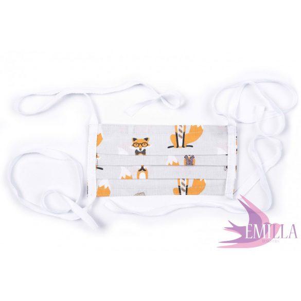 Megkötős mosható, kifőzhető arcmaszk - Mr. Fox / pamut