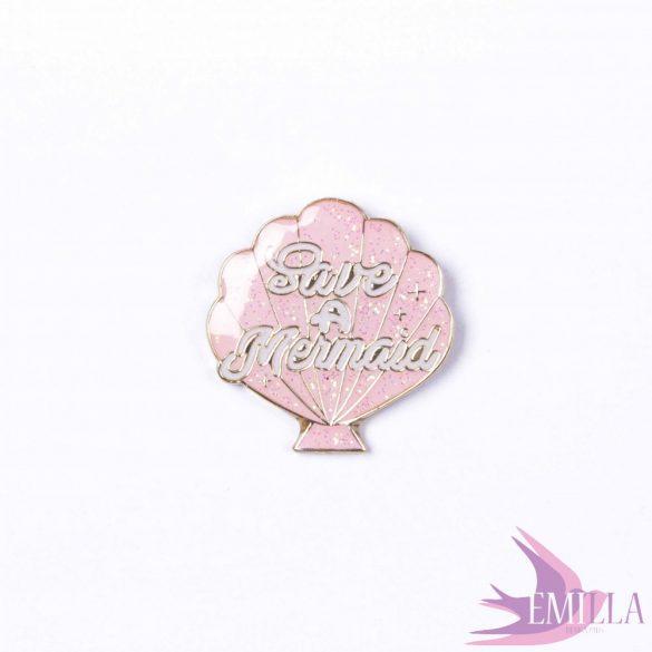 Save a Mermaid, Baby Pink - fémkitűző csillámmal