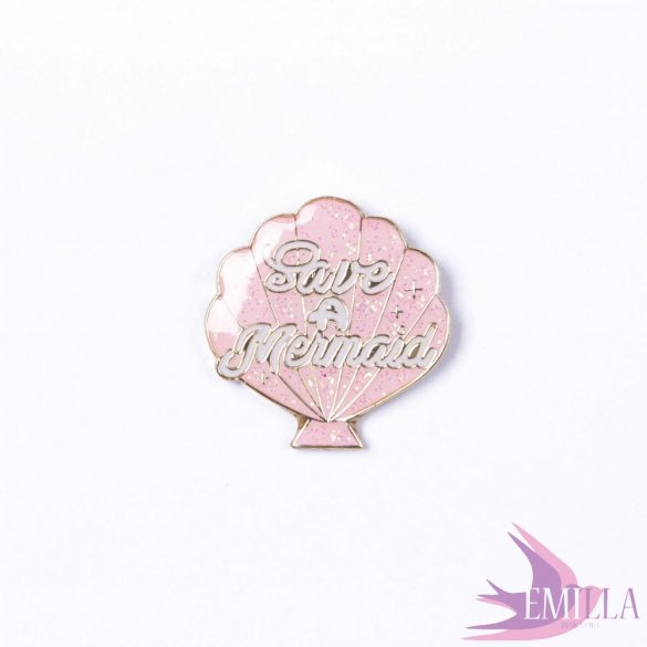 Save a Mermaid, Baby Pink - enamel pin with glitter