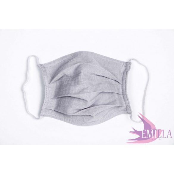 Gumis mosható, sterilizálható arcmaszk - Szürke / pamutgéz