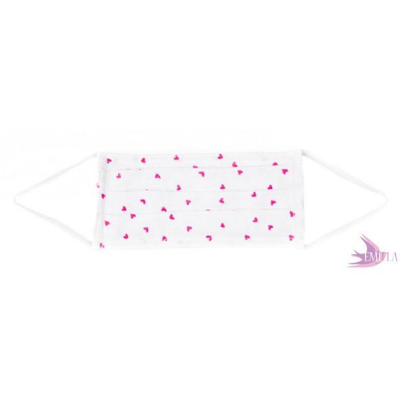 Gumis mosható, sterilizálható arcmaszk - szívecskés / pamut duplagéz