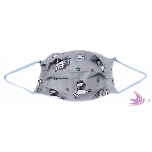 Washable, sterilizable face mask - Grey Unicorn / cotton