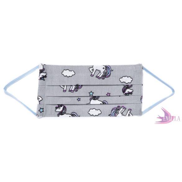 Gumis mosható, sterilizálható arcmaszk - Szürke Unikornis / pamutvászon