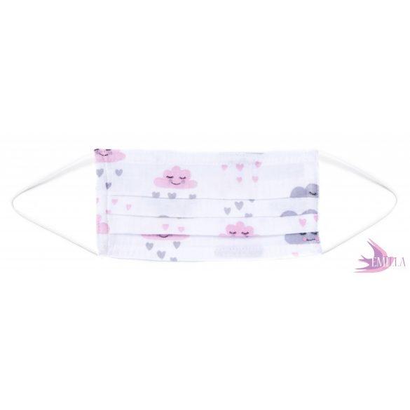 Gumis mosható, sterilizálható arcmaszk - Felhő / pamutgéz