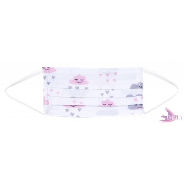 Washable, sterilizable face mask - Cloud / cotton guaze