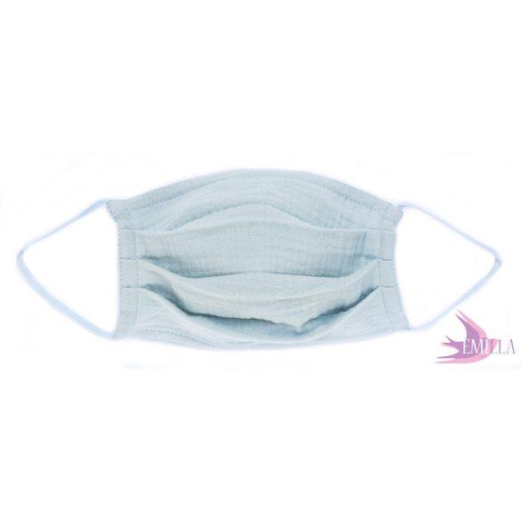 Gumis mosható, sterilizálható arcmaszk - Babakék / pamutgéz